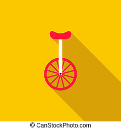 wiel, fiets, een, unicycle, of, pictogram
