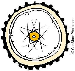 wiel, fiets, -, vector