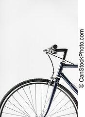 wiel, fiets, vrijstaand, een, rem, hefboom, witte