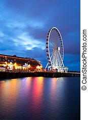 wiel, groot, seattle's, wiel, ferris, waterfront.