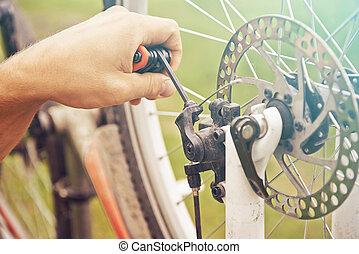 wiel, herstelling, fiets