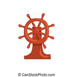wiel, houten, illustratie, stuurinrichting, vector, scheeps , spotprent