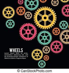wiel, industriebedrijven, vector, kleuren, achtergrond,...