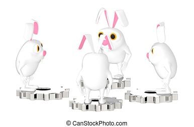 wiel, karakter, cog, staand, bovenzijde, konijn, , 3d