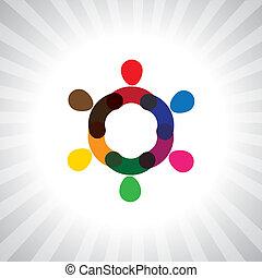 wiel, kleurrijke, mensen, eenvoudig, grafiek, samen, vector, of, circle-