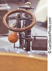 wiel, old-, stuurinrichting, tijdopnemer