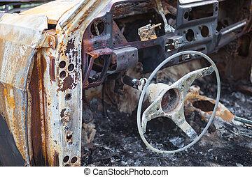 wiel, ongeluk, auto, na, interieur, aangebrand, stuurinrichting