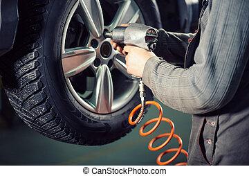 wiel, pneumatisch, auto, het schroeven, het losschroeven, ...