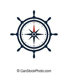 wiel, roos, scheeps , ontwerp, kompas