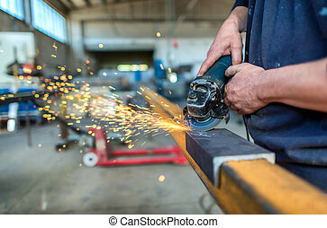 wiel, staal, elektrisch, fabriek, het malen, structuur