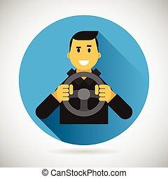 wiel, stad, geleider, plat, karakter, rijden, bestuurder, illustratie, element, vector, ontwerp, auto, glimlachen gelukkig, symbool, pictogram