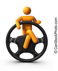 wiel, stuurinrichting, zittende
