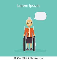 wiel, vrouw, oud, zetten, wheelchair, onbekwaamheid, invalide, stoel, concept, vrouwlijk, het glimlachen, senior, vrolijke
