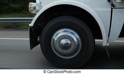 wiel, weerspiegeling., vrachtwagen