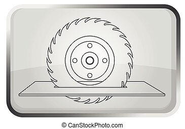 wiel, zaag, icon., vector, -