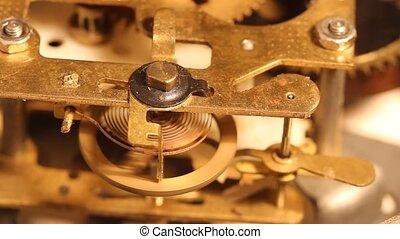 wielen, en, toestellen, binnen, de, oud, klok