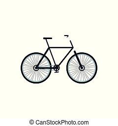 wielen, fiets, spotprent, vrijstaand, plat, frame, fiets, pictogram