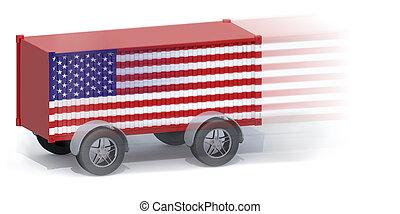 wielen, vlag, container, amerikaan, expeditie