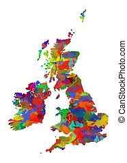 wielka brytania, akwarela, mapa