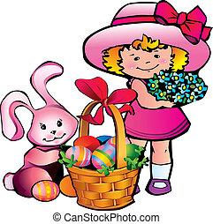 wielkanoc, dziewczyna, bunny.