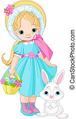 wielkanoc, dziewczyna, królik