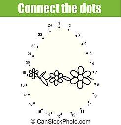 wielkanoc, game., zjednajcie wielokropek, przez, numbers., dzieci, oświatowy, game., printable, worksheet, activity.