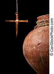 wielkanoc, krzyż, i, wino, dzbanek