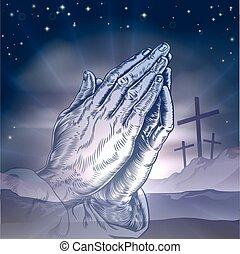 wielkanoc, krzyże, i, modląci ręki