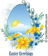 wielkanoc, kwiaty, chorągiew, wiosna