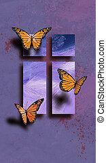wielkanoc, motyle, z, krzyż