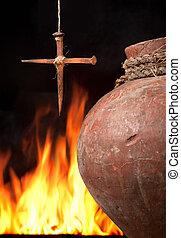 wielkanoc, ogień, od, wiara