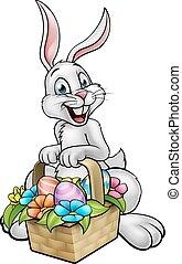 wielkanoc, polować, jajko, rysunek, królik