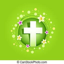 wielkanoc, religijny, krzyż, karta, wiosna
