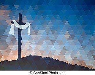 wielkanoc, scena, z, cross., jezus, christ., akwarela, wektor, illustr