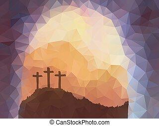 wielkanoc, scena, z, cross., jezus, christ., polygonal, wektor, design.