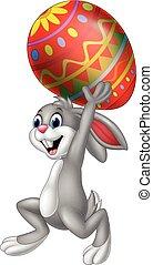 wielkanoc, transport, jajko, rysunek, królik