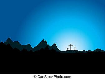 wielkanoc, trzy, krzyż