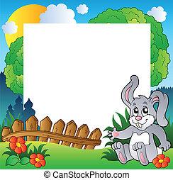 wielkanoc, ułożyć, z, szczęśliwy, królik