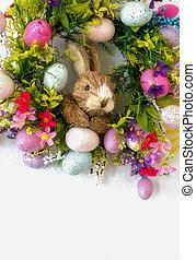 wielkanoc, wieniec, z, barwny, jaja, i, kwiaty, i, niejaki,...