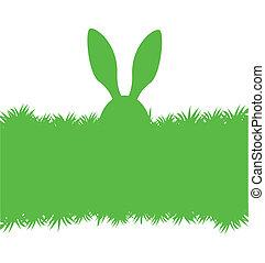 wielkanoc, zielony, królik, karta, powitanie
