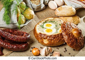 wielkanoc, zupa, kwaśny, obsłużony, podbechtywać chleb