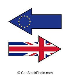 wielki, brexit., zjednoczenie, pokaz, strzały, różny, britain, directions., bandery, europejczyk