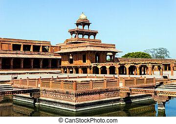 wielki, budowany, sikri, fatehpur, cesarz, indie, mughal,...