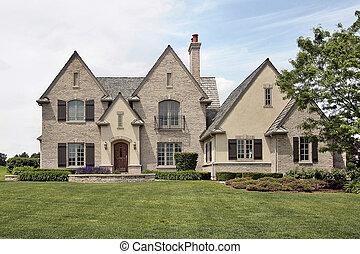 wielki, cegła, podmiejski dom