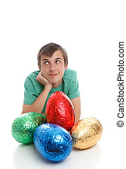 wielki, chłopiec, jaja, wielkanoc