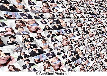 wielki, collage, robiony, przez, handlowy zaludniają, grupa