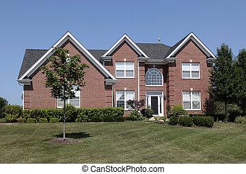 wielki, dom, cegła, okno, okólnik
