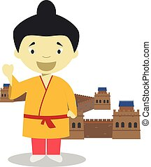 wielki, dzieciaki, illustration., chińczyk, ściana, collection., litera, wektor, china., rysunek, historia