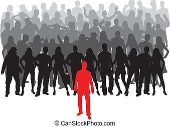 wielki, -, grupa, lider, ludzie