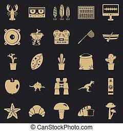 wielki, ikony, jadło, styl, komplet, prosty